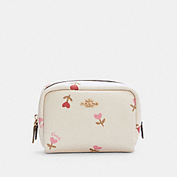 COACH C2903 Mini Boxy Cosmetic Case With Heart Floral Print IM/CHALK MULTI