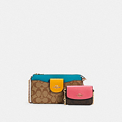 POPPY CROSSBODY IN COLORBLOCK SIGNATURE CANVAS - IM/KHAKI BROWN MULTI - COACH C2917