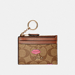 COACH C2922 - MINI SKINNY ID CASE IN SIGNATURE CANVAS WITH LIPS PRINT IM/KHAKI REDWOOD