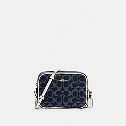 MINI CAMERA BAG IN SIGNATURE JACQUARD - C2938 - IM/DENIM MULTI