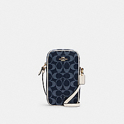 NORTH/SOUTH CROSSBODY IN SIGNATURE JACQUARD - C2943 - IM/DENIM MULTI