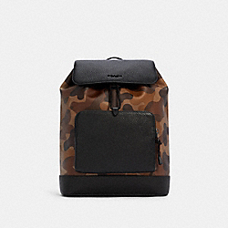 TURNER BACKPACK WITH CAMO PRINT - QB/SADDLE BLACK - COACH C2947