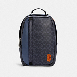 EDGE BACKPACK IN COLORBLOCK SIGNATURE CANVAS - C2961 - QB/DENIM BLUE MIST