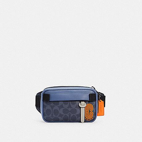 COACH C2964 MINI EDGE BELT BAG IN COLORBLOCK SIGNATURE CANVAS QB/DENIM BLUE MIST