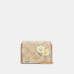COACH C3050 - MINI WALLET IN SIGNATURE CANVAS WITH DAISY PRINT IM/LIGHT KHAKI CHALK MULTI