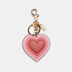 COACH C3111 70's Heart Burst Bag Charm In Signature Canvas IM/PINK MULTI KHAKI