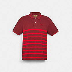 COACH C3121 - STRIPED PIQUE POLO LIGHT MAROON