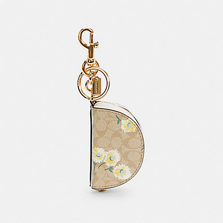 COACH C3127 CRESCENT POUCH BAG CHARM IN SIGNATURE CANVAS WITH DAISY PRINT IM/LIGHT KHAKI YELLOW