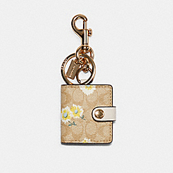 COACH C3130 - PICTURE FRAME BAG CHARM IN SIGNATURE CANVAS WITH DAISY PRINT IM/LIGHT KHAKI YELLOW