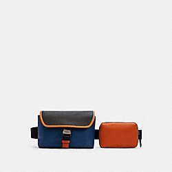 RIDER DOUBLE BELT BAG IN COLORBLOCK - C3132 - QB/TRUE BLUE BRIGHT CANYON