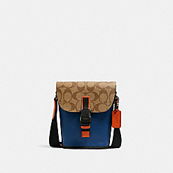 TRACK SMALL FLAP CROSSBODY IN COLORBLOCK SIGNATURE CANVAS - C3133 - QB/KHAKI TRUE BLUE MULTI
