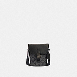 TRACK SMALL FLAP CROSSBODY IN SIGNATURE CANVAS - C3134 - QB/CHARCOAL