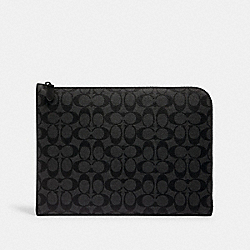 L-ZIP PORTFOLIO IN SIGNATURE CANVAS - C3144 - QB/CHARCOAL