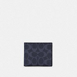 3-IN-1 WALLET IN COLORBLOCK SIGNATURE CANVAS - QB/DENIM BLUE MIST - COACH C3198