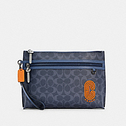 CARRYALL POUCH IN COLORBLOCK SIGNATURE CANVAS - QB/DENIM BLUE MIST - COACH C3199