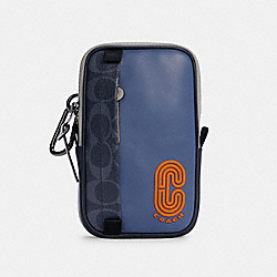 NORTH/SOUTH HYBRID POUCH IN COLORBLOCK SIGNATURE CANVAS - QB/DENIM BLUE MIST - COACH C3203