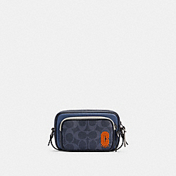 COACH C3205 - MINI EDGE DOUBLE POUCH CROSSBODY IN COLORBLOCK SIGNATURE CANVAS QB/DENIM BLUE MIST