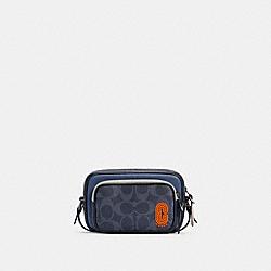 COACH C3205 Mini Edge Double Pouch Crossbody In Colorblock Signature Canvas QB/DENIM BLUE MIST