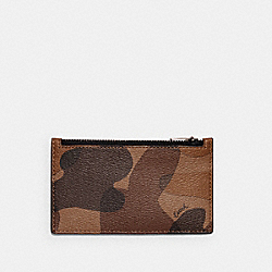 ZIP CARD CASE WITH CAMO PRINT - QB/SADDLE BLACK - COACH C3210