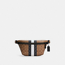 GRADE BELT BAG IN SIGNATURE CANVAS WITH VARSITY STRIPE - C3228 - QB/KHAKI MULTI