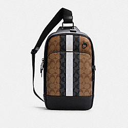 GRAHAM PACK IN SIGNATURE CANVAS WITH VARSITY STRIPE - C3229 - QB/KHAKI MULTI