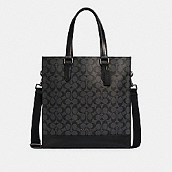 GRAHAM STRUCTURED TOTE IN SIGNATURE CANVAS - C3232 - QB/CHARCOAL/BLACK