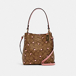 COACH C3238 - SMALL TOWN BUCKET BAG IN SIGNATURE CANVAS WITH HEART FLORAL PRINT IM/KHAKI RED MULTI WINE