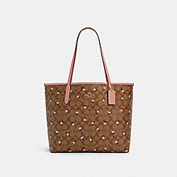 CITY TOTE IN SIGNATURE CANVAS WITH HEART FLORAL PRINT - C3240 - IM/KHAKI RED MULTI WINE