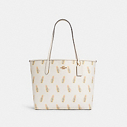 CITY TOTE WITH LIPSTICK PRINT - IM/CHALK MULTI/LIGHT SADDLE - COACH C3246