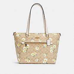 GALLERY TOTE IN SIGNATURE CANVAS WITH DAISY PRINT - C3252 - IM/LIGHT KHAKI CHALK MULTI