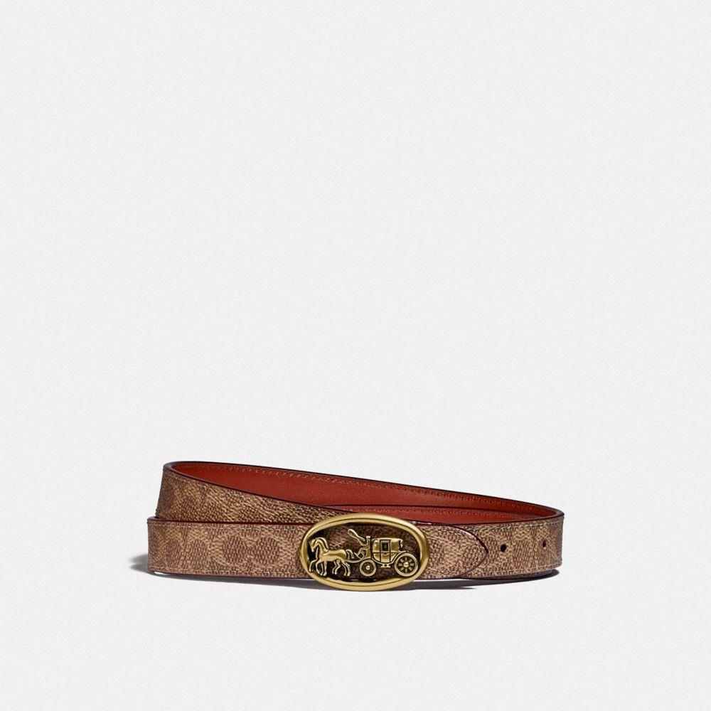馬車圖案浮雕扣環雙面腰帶