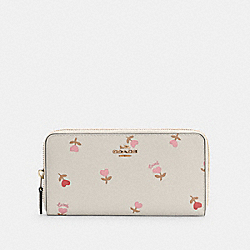 COACH C3287 Accordion Zip Wallet With Heart Floral Print IM/CHALK MULTI