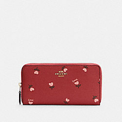 COACH C3287 - ACCORDION ZIP WALLET WITH HEART FLORAL PRINT IM/WINE MULTI