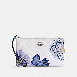 LARGE CORNER ZIP WRISTLET IN SIGNATURE CANVAS WITH KAFFE FASSETT PRINT - C3297 - SV/CHALK MULTI/PERIWINKLE