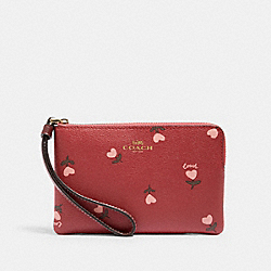 COACH C3300 - CORNER ZIP WRISTLET WITH HEART FLORAL PRINT IM/WINE MULTI