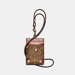 COACH C3306 Id Lanyard In Signature Canvas With Heart Floral Print IM/KHAKI RED MULTI