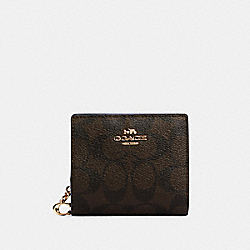 COACH C3309 - SNAP WALLET IN SIGNATURE CANVAS IM/BROWN BLACK