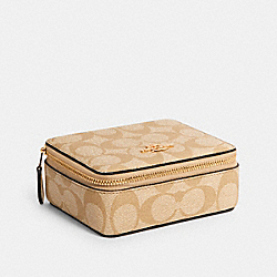 LARGE JEWELRY BOX IN SIGNATURE CANVAS - C3311 - IM/LIGHT KHAKI CHALK