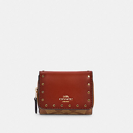 COACH C3323 SMALL TRIFOLD WALLET IN COLORBLOCK SIGNATURE CANVAS WITH RIVETS IM/KHAKI/TERRACOTTA MULTI