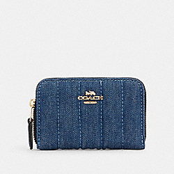 COACH C3342 - ZIP AROUND COIN CASE WITH QUILTING IM/DENIM MULTI