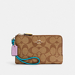 DOUBLE CORNER ZIP WRISTLET IN COLORBLOCK SIGNATURE CANVAS - IM/KHAKI BROWN MULTI - COACH C3347