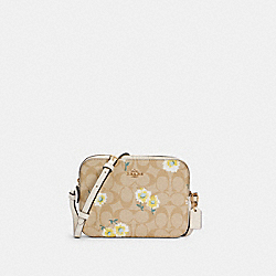 MINI CAMERA BAG IN SIGNATURE CANVAS WITH DAISY PRINT - IM/LIGHT KHAKI CHALK MULTI - COACH C3354
