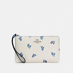 DISNEY X COACH LARGE CORNER ZIP WRISTLET WITH CINDERELLA FLYING BIRDS PRINT - SV/CHALK MULTI - COACH C3359