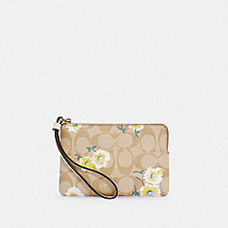 COACH C3360 - CORNER ZIP WRISTLET IN SIGNATURE CANVAS WITH DAISY PRINT IM/LIGHT KHAKI CHALK MULTI