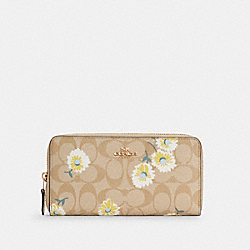 ACCORDION ZIP WALLET IN SIGNATURE CANVAS WITH DAISY PRINT - IM/LIGHT KHAKI CHALK MULTI - COACH C3370