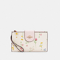 COACH C3371 - TECH PHONE WALLET WITH SPACED WILDFLOWER IM/CHALK MULTI