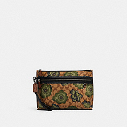CARRYALL POUCH IN SIGNATURE CANVAS WITH KAFFE FASSETT PRINT - C3402 - QB/KHAKI GREEN BLACK MULTI
