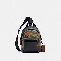 SMALL WEST BACKPACK CROSSBODY IN SIGNATURE CANVAS WITH KAFFE FASSETT PRINT - C3403 - QB/KHAKI GREEN BLACK MULTI