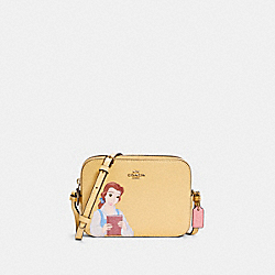 DISNEY X COACH MINI CAMERA BAG WITH BELLE - IM/VANILLA CREAM MULTI - COACH C3404