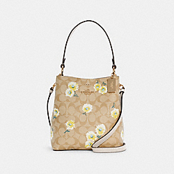 SMALL TOWN BUCKET BAG IN SIGNATURE CANVAS WITH DAISY PRINT - IM/LIGHT KHAKI MULTI/CHALK - COACH C3411
